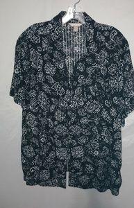 White Stag Black White Cotton Flower Shirt Sz 3X
